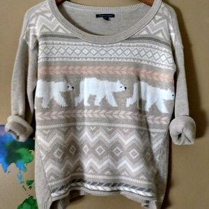 American Eagle Polar Bear Print Scoop Neck Sweater